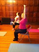 A student in my Cardiff yoga class showing how Virasana can be practised while sitting down